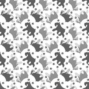 Trotting Miniature Schnauzers and paw prints - white