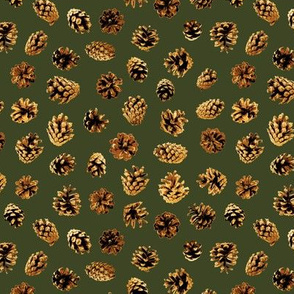 mini pine cones on green