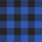 90's Buffalo Check Plaid in Black/Cobalt Dutch Blue