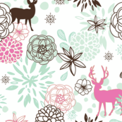 Mint and Pink Floral Deer