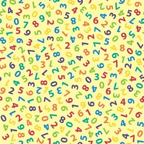 ditsy numbers on pale gold