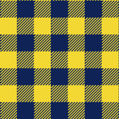 90's Buffalo Check Plaid in Navy Blue/Golden Yellow