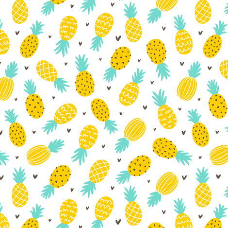 Pineapple Hearts Large Scale Fabric Stolenpencil
