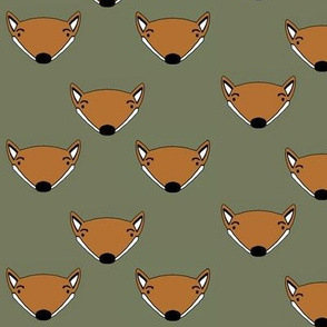 Foxes in forest green