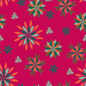 Geometric Christmas - Fucsia, Aqua, Orange, & Olive