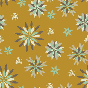 Geometric Christmas - Mustard, Blue, & Grey