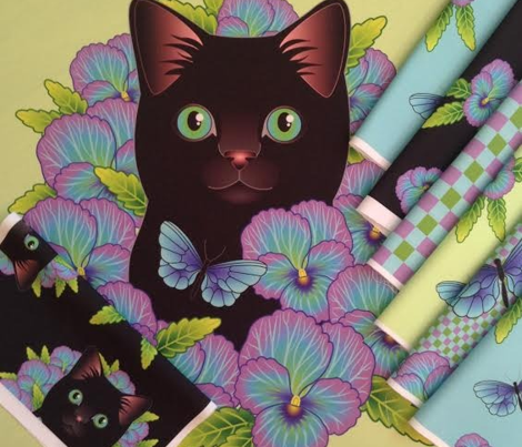 Black Cat and Pansies - Fat Quarter