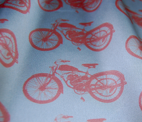 """4"""" Vintages Motorcycles - orange and teal"""