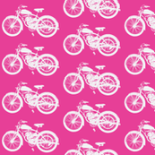 Vintage Motorcycles - White on Pink