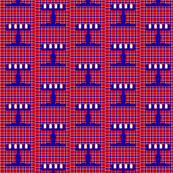 Menorah on Plaid blue and red