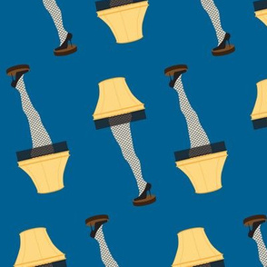 Christmas Retro Leg Lamp on Winter Blue
