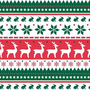 Christmas Winter Pattern Green, White and Red