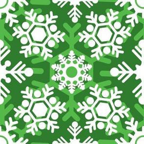 Christmas Holiday Snowflakes Green and White
