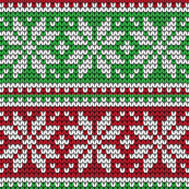 Chirstmas Ugly Sweater Snowflakes Red and Green