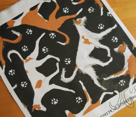 Trotting Ibizan hounds and paw prints - black