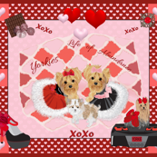 Furry, Yorkie, hearts and XO, Abundance, Victorian, Valentine, Love, Corvette, Quilt panel