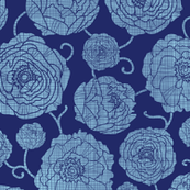 Navy textile peonies and swirls