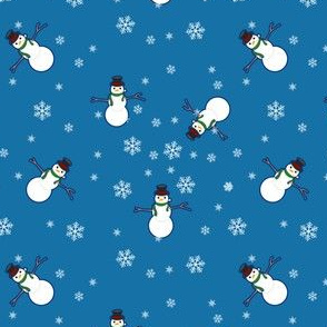 Snowman Wrapping Paper - Dark Blue