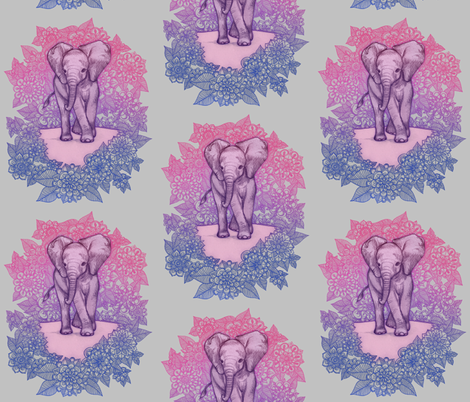 Cute baby elephant pink purple blue on grey fabric for Purple baby fabric