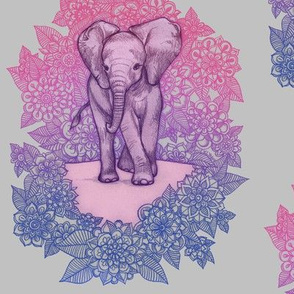 Cute Baby Elephant - pink, purple, blue on grey