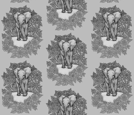 Cute baby elephant monochrome fabric micklyn spoonflower for Cute baby fabric prints