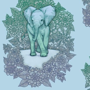 Cute Baby Elephant - soft blue and green