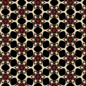 Floral Stars in Red and Black