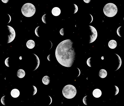 Moon phases fabric onelittleprintshop spoonflower for Moon pattern fabric