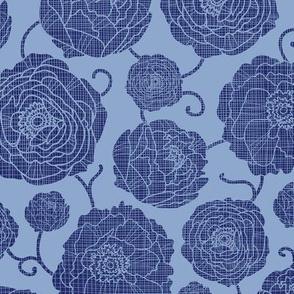 Blue textile peony garden