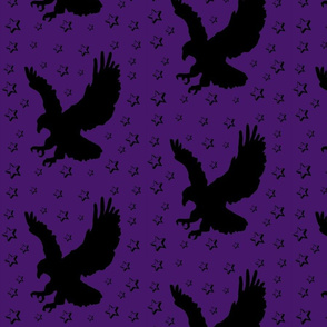 Eagle Flock on Purple with Stars