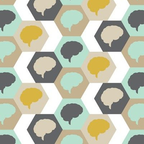Brain | Gold Brown Aqua