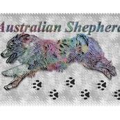 Colorfully dashing Australian shepherd panel - fat quarter