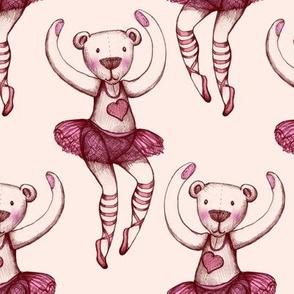 Ballerina Teddy Illustration - Rose pink and magenta - large version