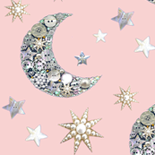 Vintage pink sparkle moon and stars