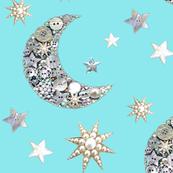 Vintage Aqua Sparkle moon and stars