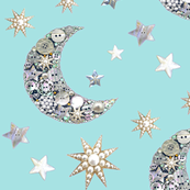 Vintage Aqua Sparkle moon and stars