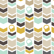 Chevron Brain - Gold - Brown - Tan - Aqua