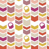 Chevron Brain - Gold - Pink - Red - Tan