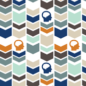 Chevron Brain - Orange - Blue - Aqua - Brown