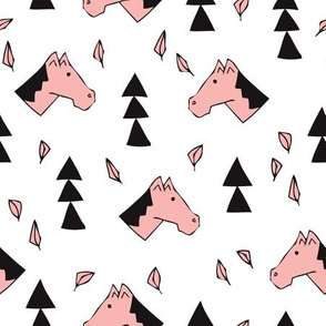 Sweet geometric horses cute animal drawing with triangles and little cowboy feathers in pink black and white