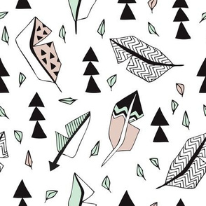 Cool geometric feathers and arrows abstract triangle hand drawn illustration scandinavian style in beige mint black and white