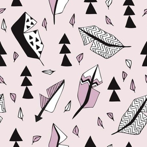 Cool geometric feathers and arrows abstract triangle hand drawn illustration scandinavian style in lavender violet black and white