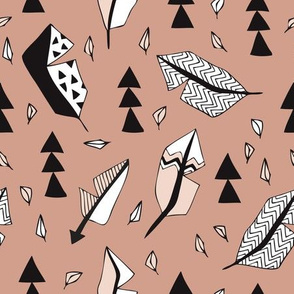 Cool geometric feathers and arrows abstract triangle hand drawn illustration scandinavian style in beige black and white