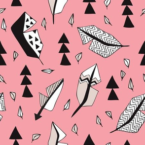 Cool geometric feathers and arrows abstract triangle hand drawn illustration scandinavian style in pink black and white