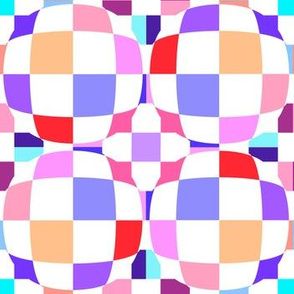 Pink and Purple Checkerboard 3-D Illusion Dots