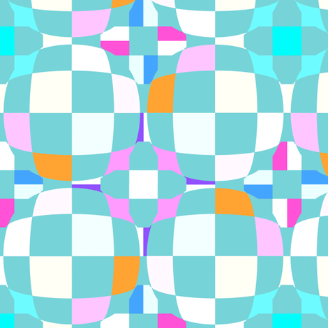 Mainly Aqua Checkerboard 3-D Illusion Dots