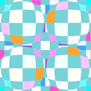 Mainly Aqua Checkerboard 3-D Illusion Dots