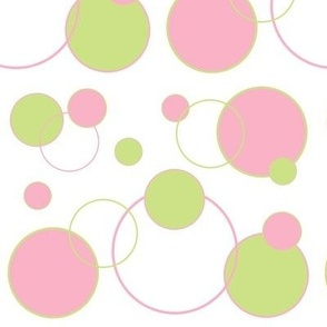 Pink Green Polka Dot Circle Geometric Design