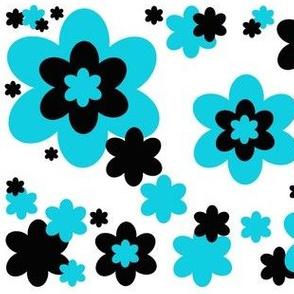 Turquoise Teal Blue Black Floral