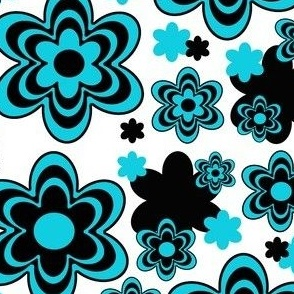 Teal Turquoise Blue Black Floral Abstract